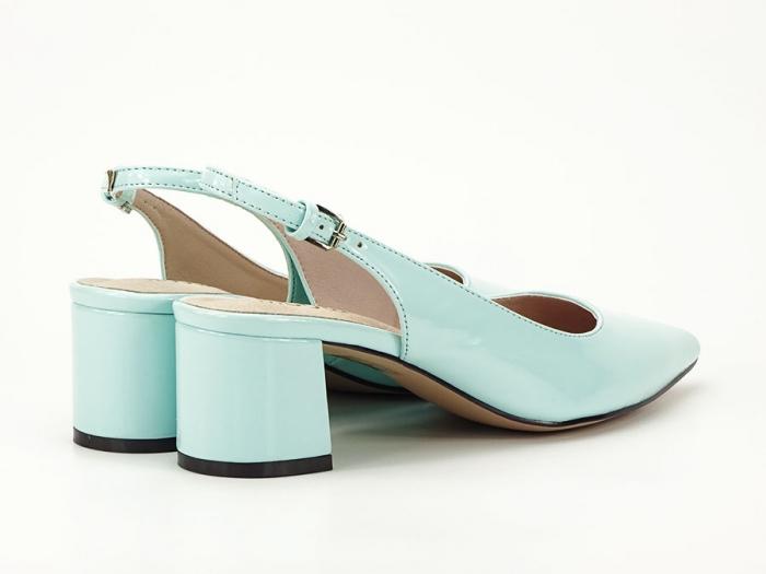 Pantofi turcoaz decupati la spate cu toc mic Melissa 7