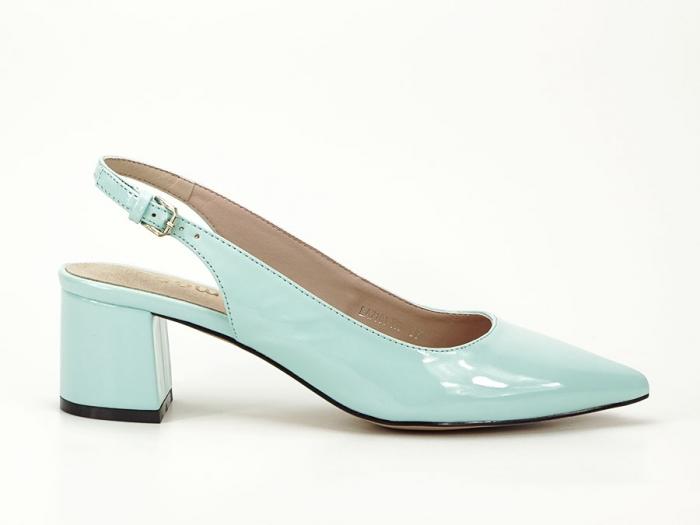 Pantofi turcoaz decupati la spate cu toc mic Melissa 0