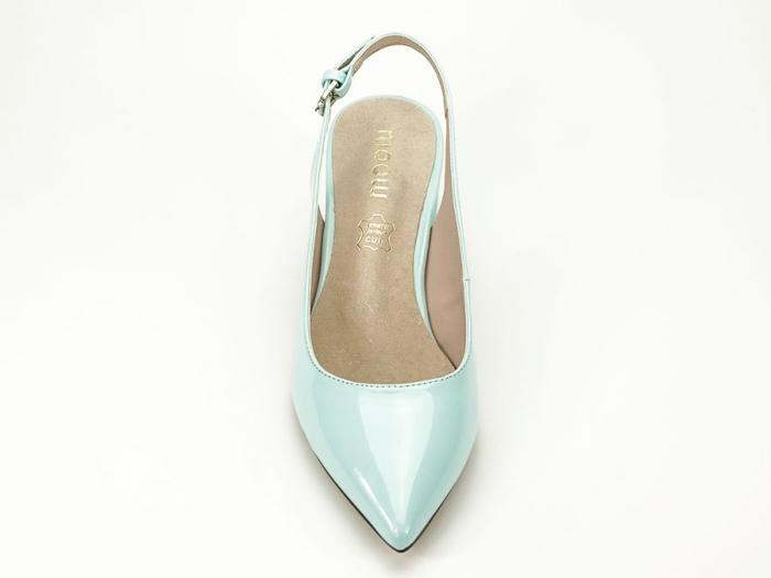 Pantofi turcoaz decupati la spate cu toc mic Melissa 4