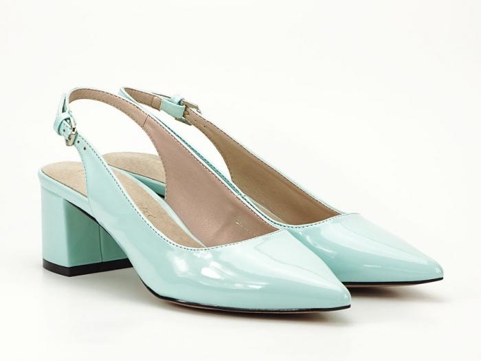 Pantofi turcoaz decupati la spate cu toc mic Melissa 2