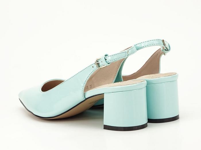 Pantofi turcoaz decupati la spate cu toc mic Melissa 1