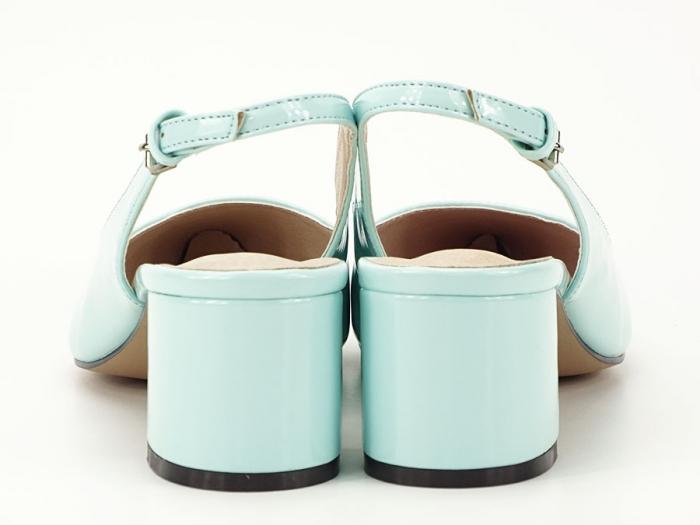 Pantofi turcoaz decupati la spate cu toc mic Melissa 3