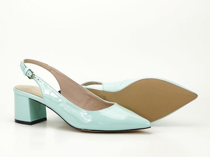 Pantofi turcoaz decupati la spate cu toc mic Melissa 5