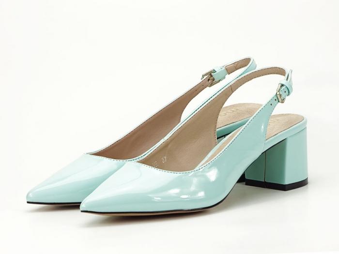 Pantofi turcoaz decupati la spate cu toc mic Melissa 6