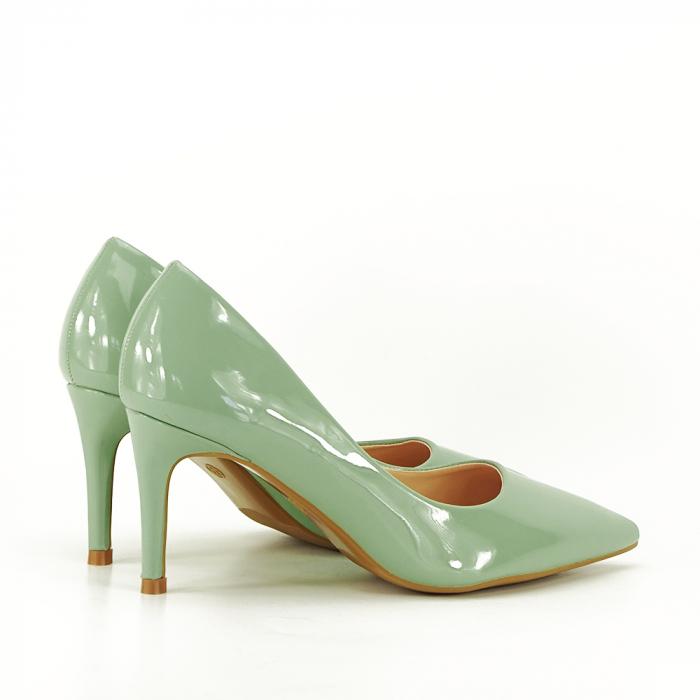 Pantofi cu toc verde fistic Alma 2