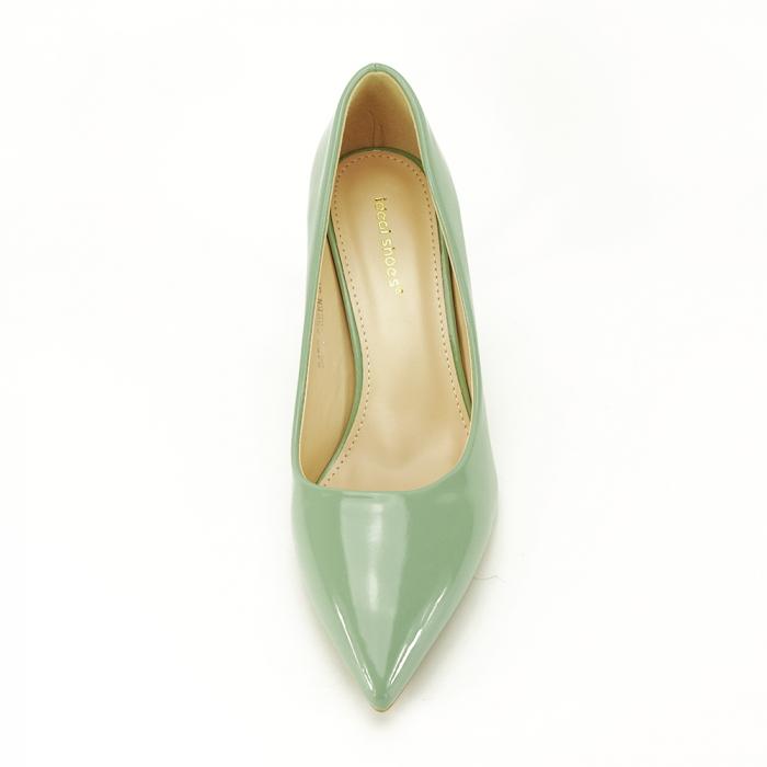 Pantofi cu toc verde fistic Alma 4