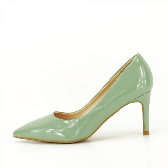 Pantofi cu toc verde fistic Alma 0