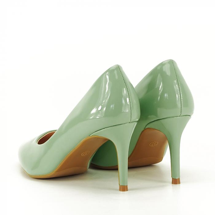 Pantofi cu toc verde fistic Alma 7