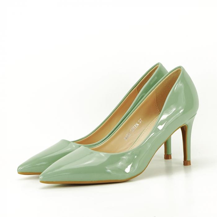 Pantofi cu toc verde fistic Alma 1