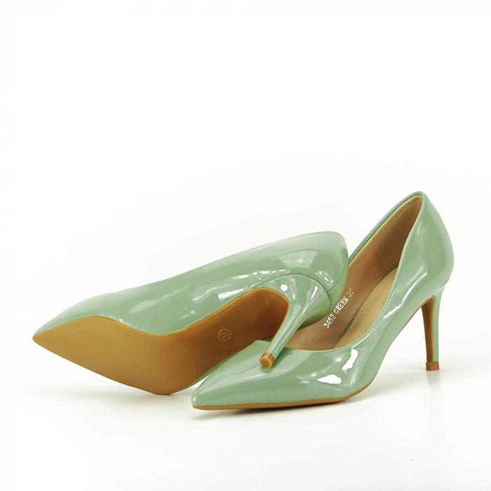 Pantofi cu toc verde fistic Alma 5