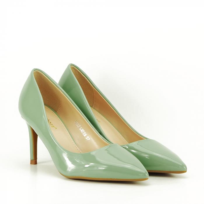 Pantofi cu toc verde fistic Alma 6
