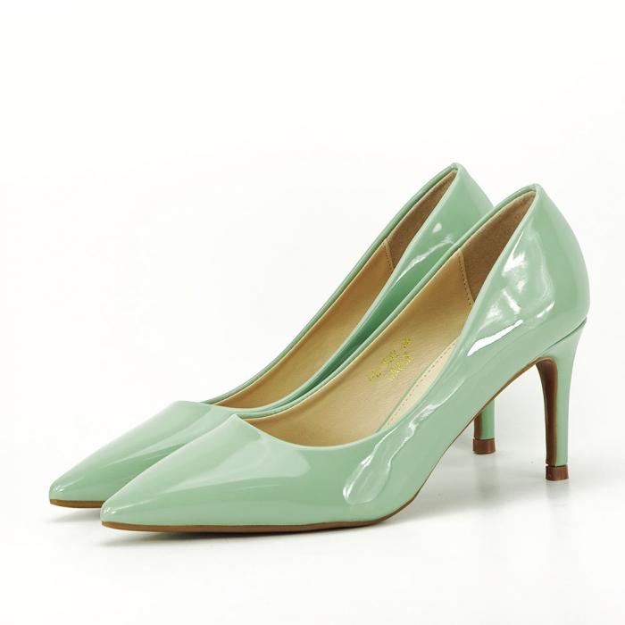 Pantofi verde fistic de lac Mella 0
