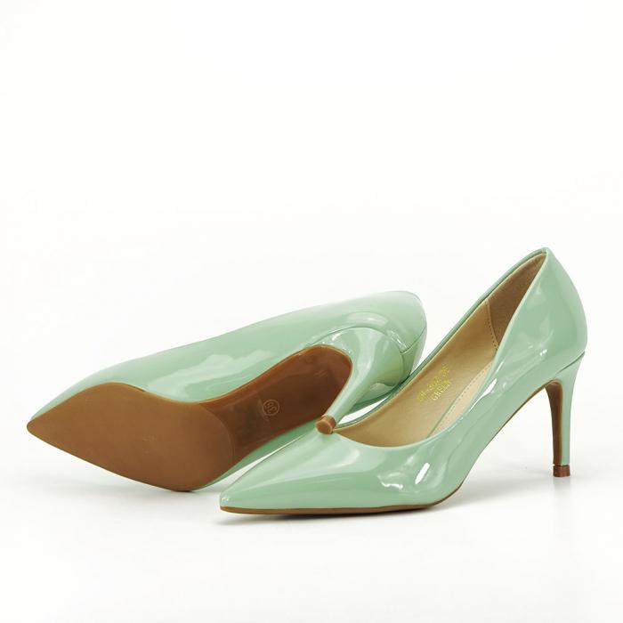 Pantofi verde fistic de lac Mella 4