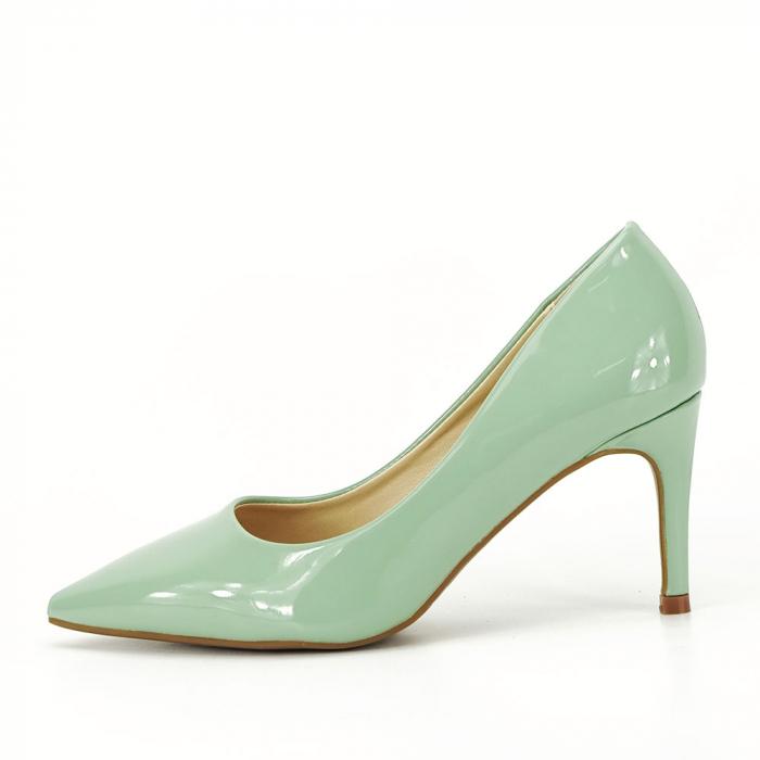 Pantofi verde fistic de lac Mella 1