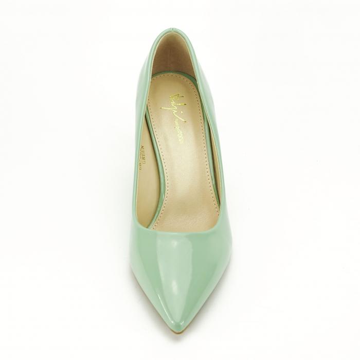 Pantofi verde fistic de lac Mella 5