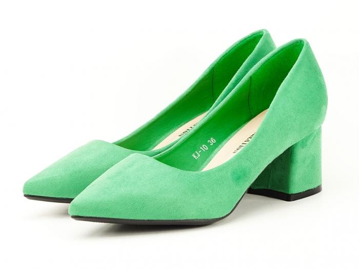 Pantofi verzi dama cu toc gros si varf ascutit Boema 1