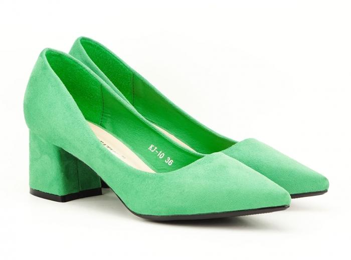 Pantofi verzi dama cu toc gros si varf ascutit Boema 0