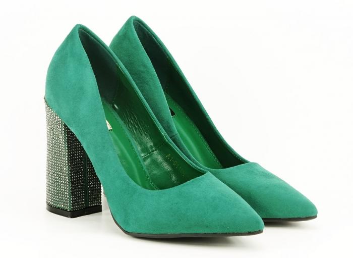 Pantofi eleganti verzi cu toc gros si varf ascutit Alina 0