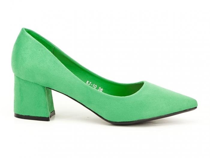 Pantofi verzi dama cu toc gros si varf ascutit Boema 2