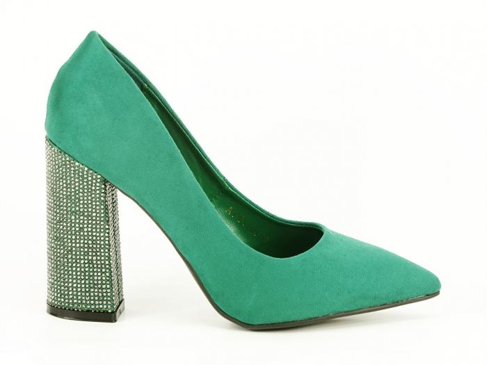 Pantofi eleganti verzi cu toc gros si varf ascutit Alina 2