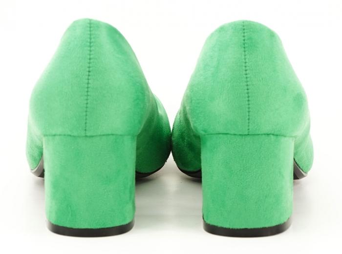 Pantofi verzi dama cu toc gros si varf ascutit Boema 3