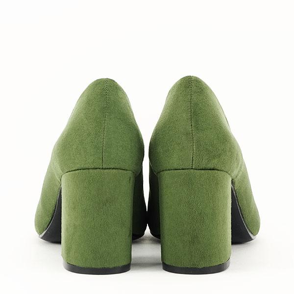 Pantofi verzi cu toc gros Adelina 5
