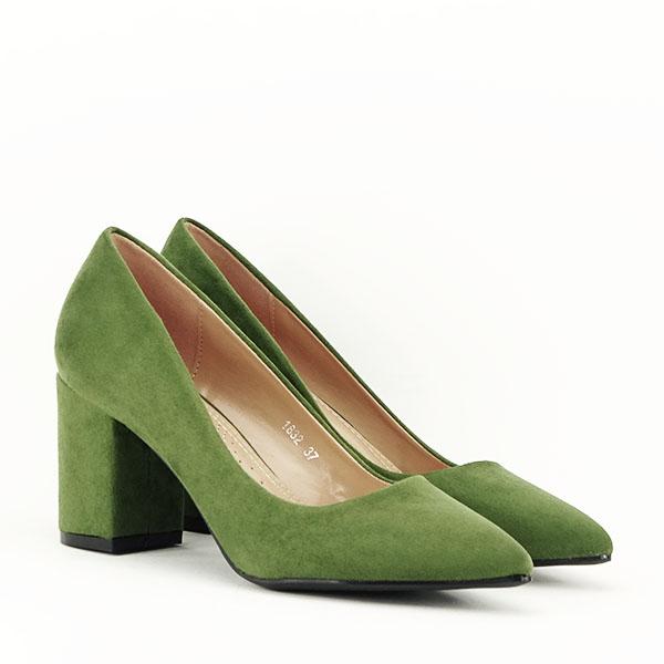 Pantofi verzi cu toc gros Adelina 1