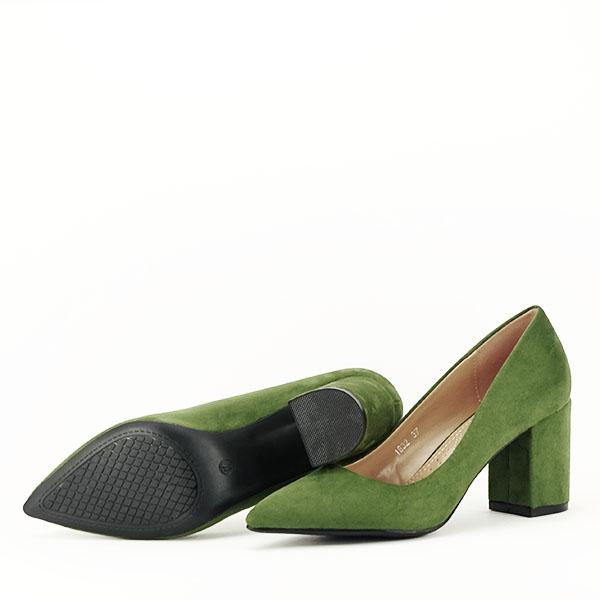 Pantofi verzi cu toc gros Adelina 7