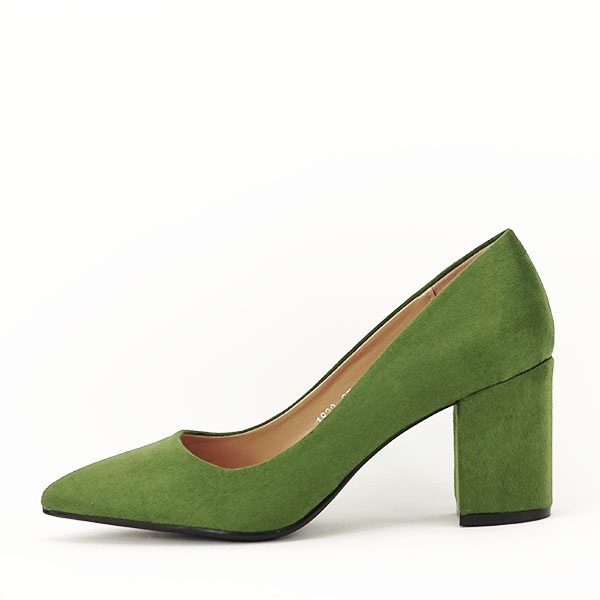 Pantofi verzi cu toc gros Adelina 0