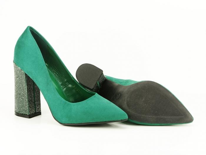 Pantofi eleganti verzi cu toc gros si varf ascutit Alina 3