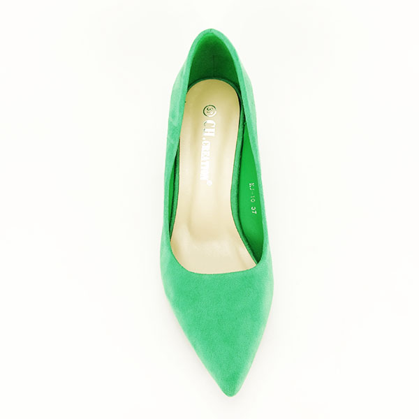 Pantofi verzi cu toc mic Cristina 1