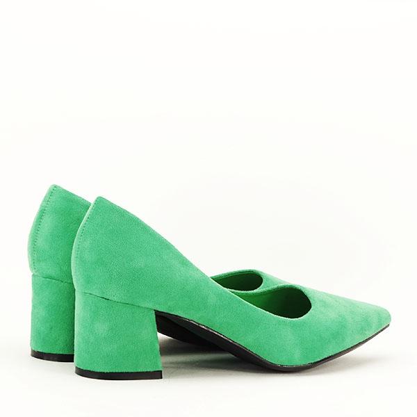 Pantofi verzi cu toc mic Cristina 5