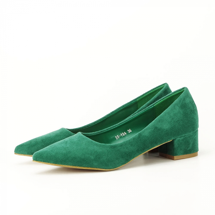 Pantofi verzi cu toc mic Elisa 1