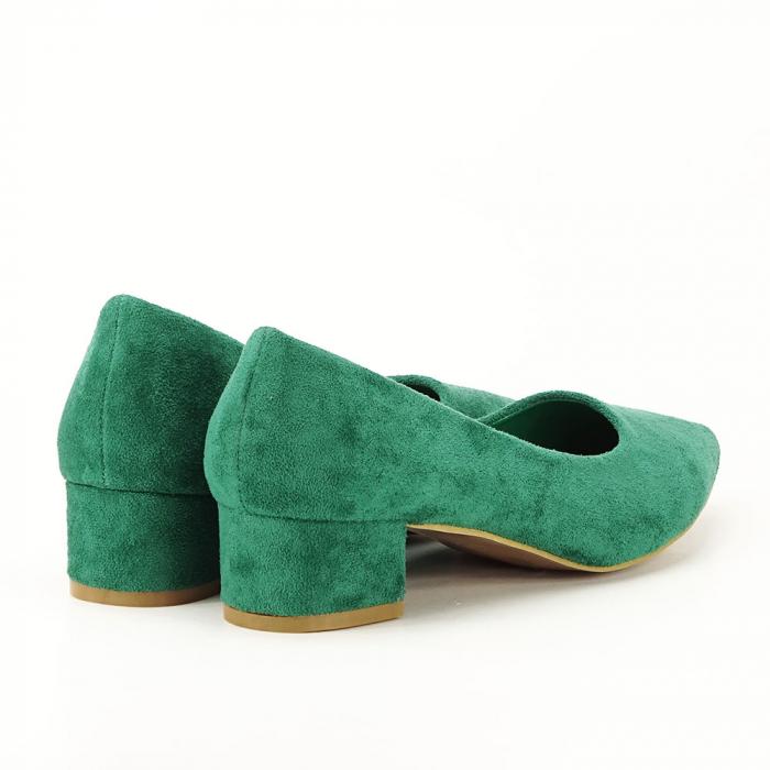 Pantofi verzi cu toc mic Elisa 4