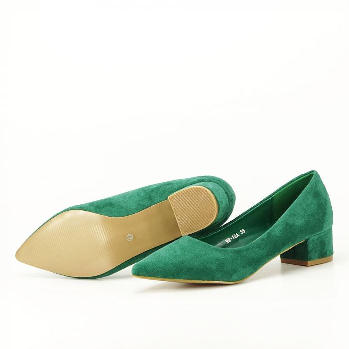 Pantofi verzi cu toc mic Elisa 6