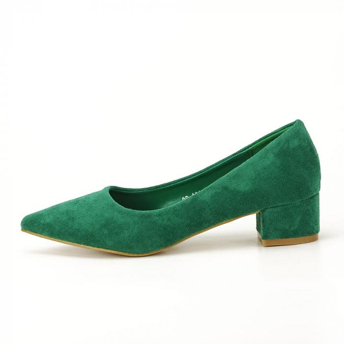 Pantofi verzi cu toc mic Elisa 0