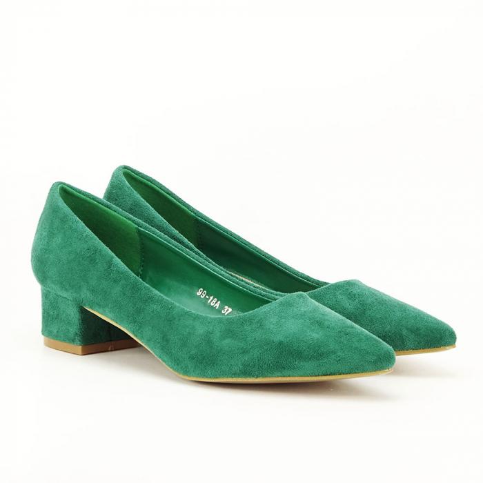 Pantofi verzi cu toc mic Elisa 2