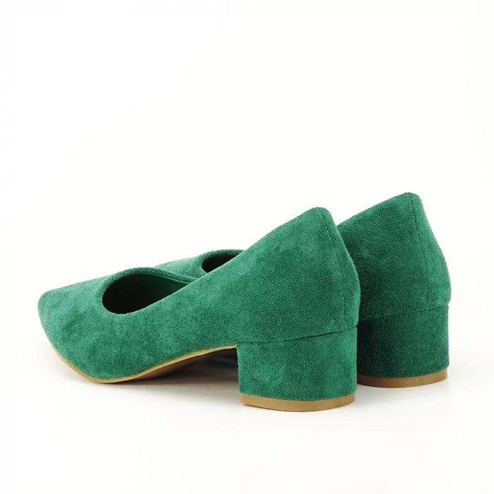 Pantofi verzi cu toc mic Elisa 3