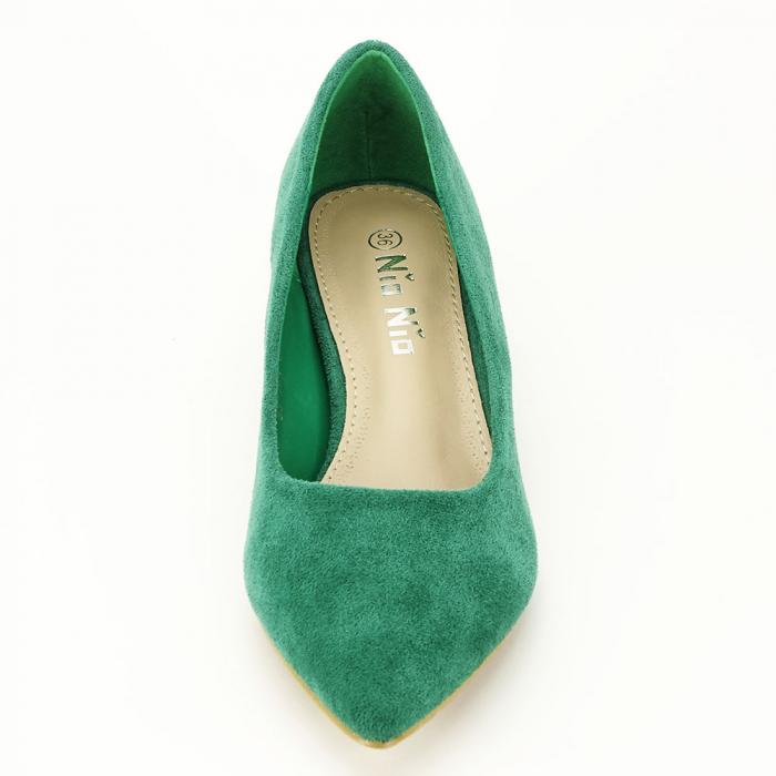 Pantofi verzi cu toc mic Elisa 5