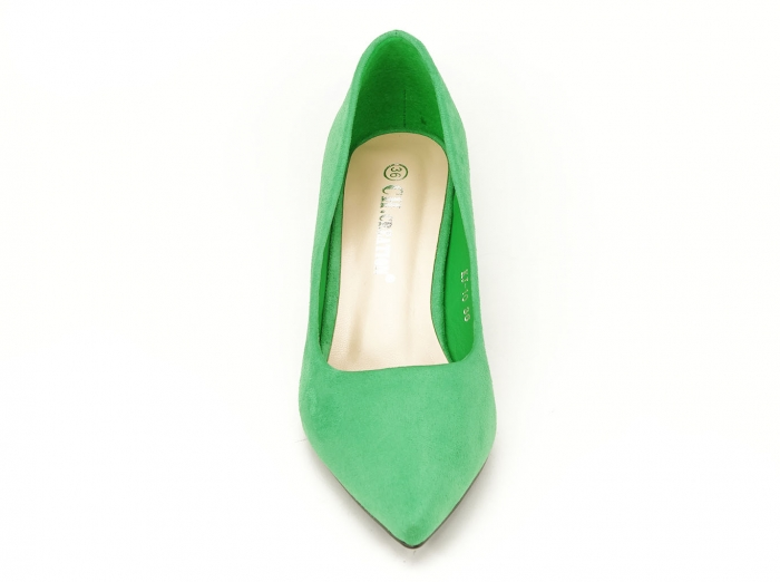 Pantofi verzi dama cu toc gros si varf ascutit Boema 4