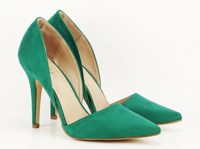 Pantofi dama verzi decupati lateral Antonia 1