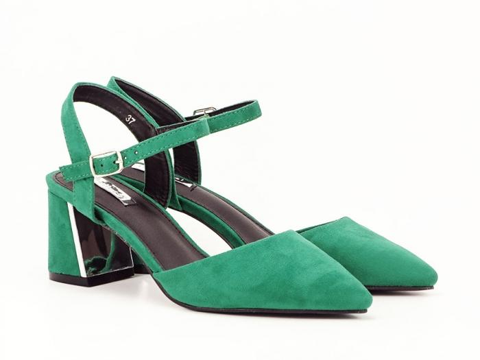 Pantofi verzi decupati in spate cu toc mic Catrinel 2