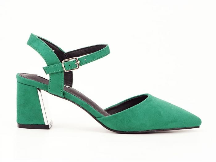 Pantofi verzi decupati in spate cu toc mic Catrinel 7
