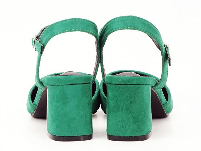 Pantofi verzi decupati in spate cu toc mic Catrinel 3
