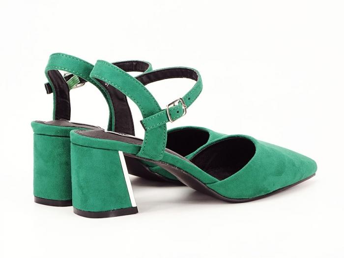 Pantofi verzi decupati in spate cu toc mic Catrinel 1