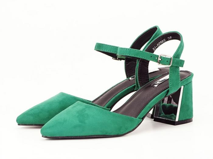 Pantofi verzi decupati in spate cu toc mic Catrinel 4