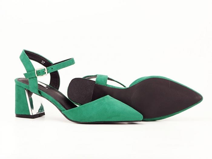 Pantofi verzi decupati in spate cu toc mic Catrinel 6