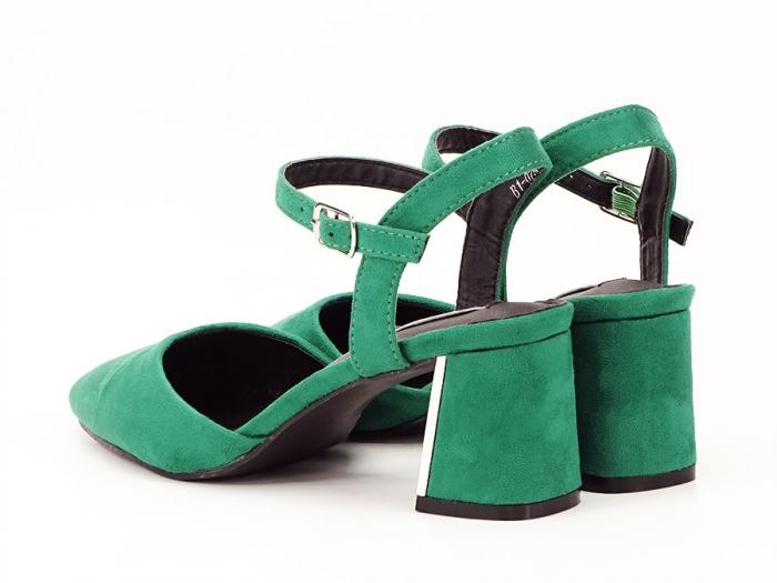 Pantofi verzi decupati in spate cu toc mic Catrinel 5