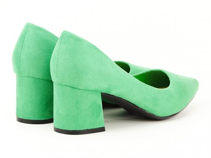Pantofi verzi dama cu toc gros si varf ascutit Boema 5