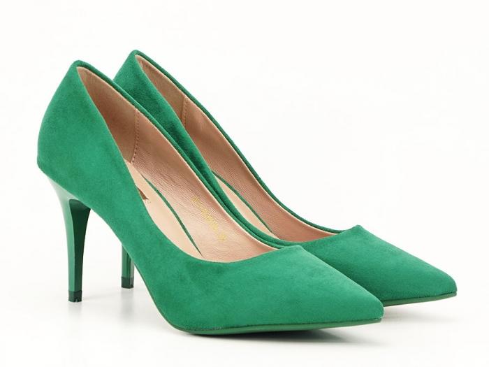 Pantofi verzi office/elegant cu toc mediu Serenity 2